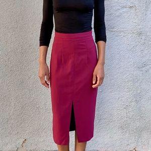 ASOS Burgundy Midi Pencil Skirt